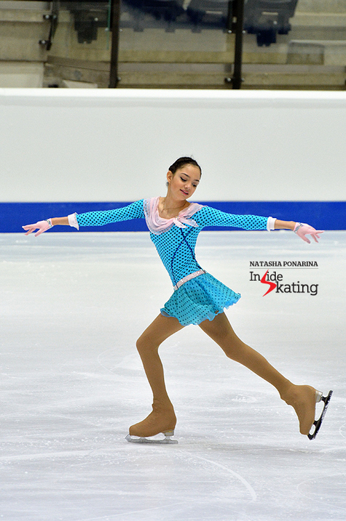 "Evgenia Medvedeva during her short program in Tallinn, skated to music from ""The Umbrellas of Cherbourg""; the Russian won this particular segment of the event - and the overall competition"