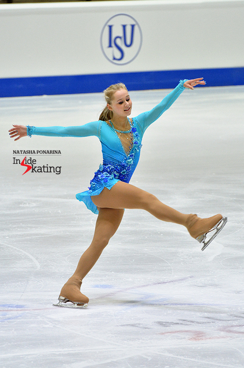 "Serafima Sakhanovich, skating to ""My Sweet and Tender Beast"" in her short program in Tallinn"