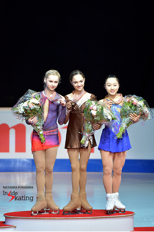 The medalists in the ladies' event at this year's edition of the Junior Worlds
