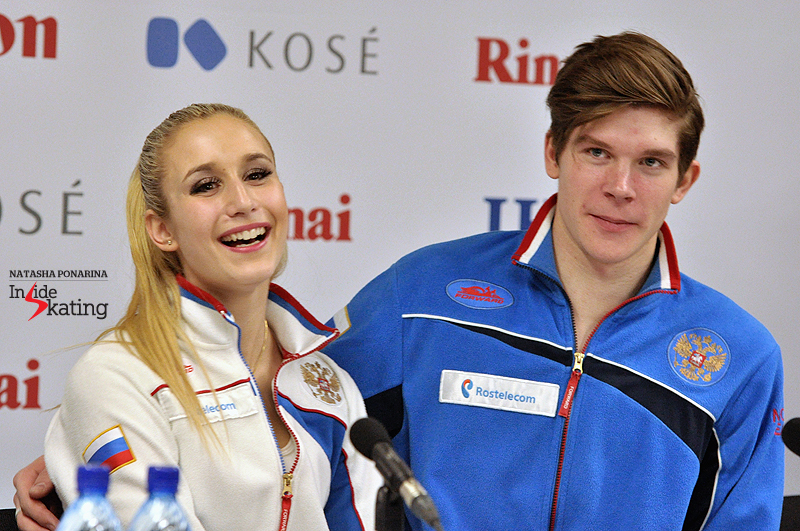 Anna and Sergey press conference after SP 2015 JW