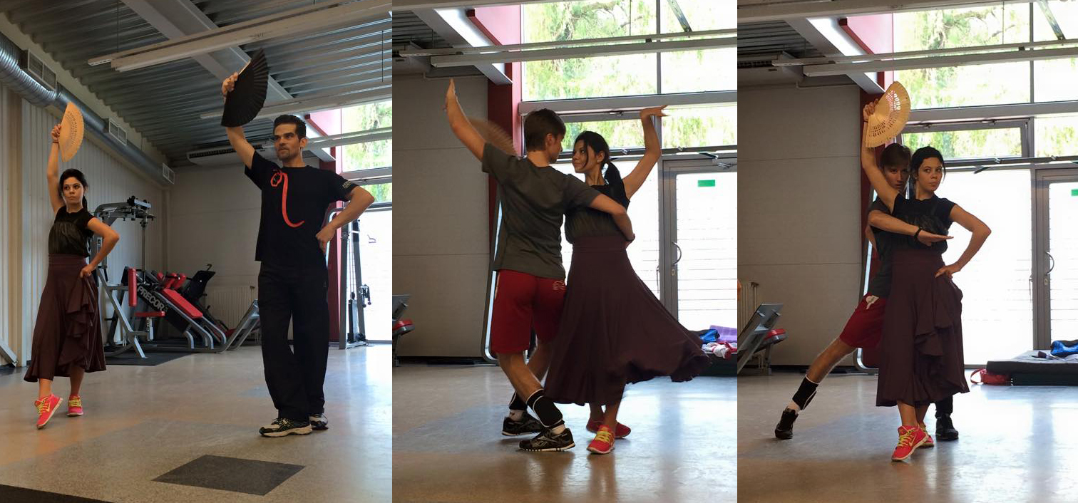 Creating a beauty of a program, the Carmen short dance: Elena Ilinykh, Ruslan Zhiganshin and Antonio Najarro in Moscow, in August 2014; click to enlarge  (photos courtesy of Elena Ilinykh)