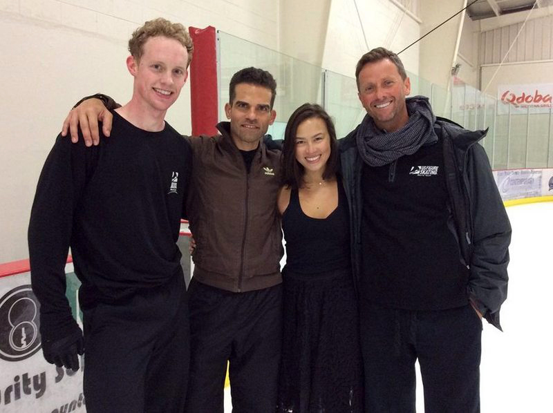 Madison Chock and Evan Bates, alongside coach Igor Shpilband and choreographer Antonio Najarro, in Detroit, July 2014 (photo courtesy of Antonio Najarro)