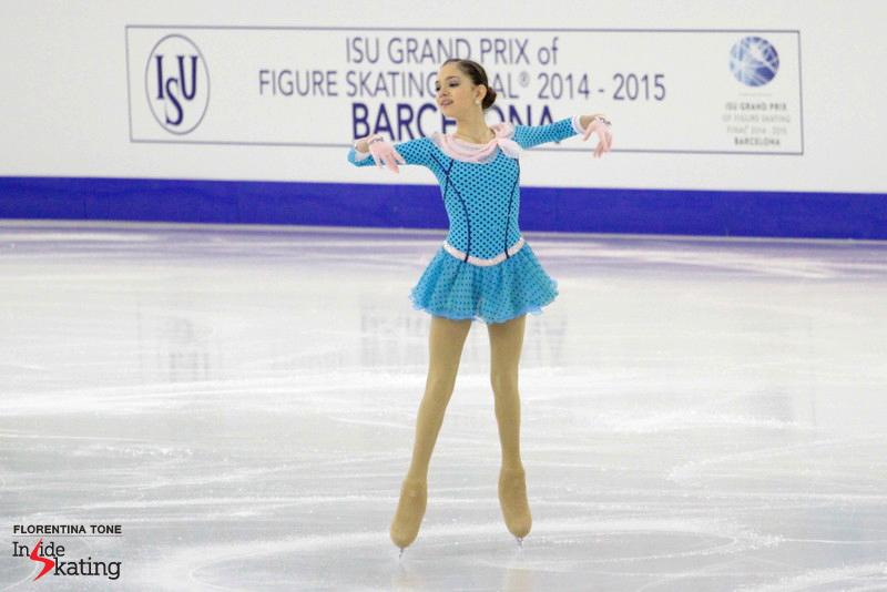 "Russia's Evgenia Medvedeva in Barcelona, performing her short program to ""The Umbrellas of Cherbourg"""