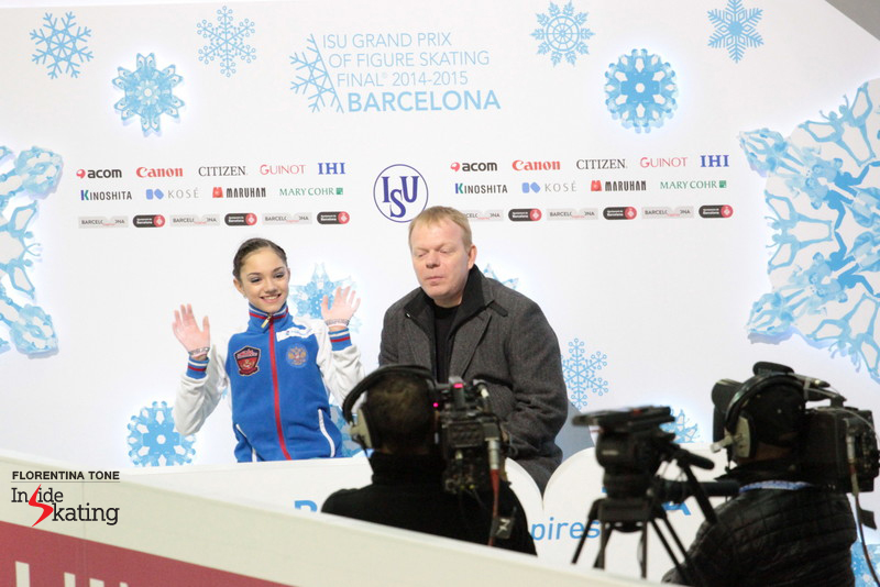 "Medvedeva on her short program in Barcelona, at the Junior Grand Prix Final: ""In this season I have moved three jump elements to the second half, while in the past I had two elements in the second half. I think I am upping the ante"""