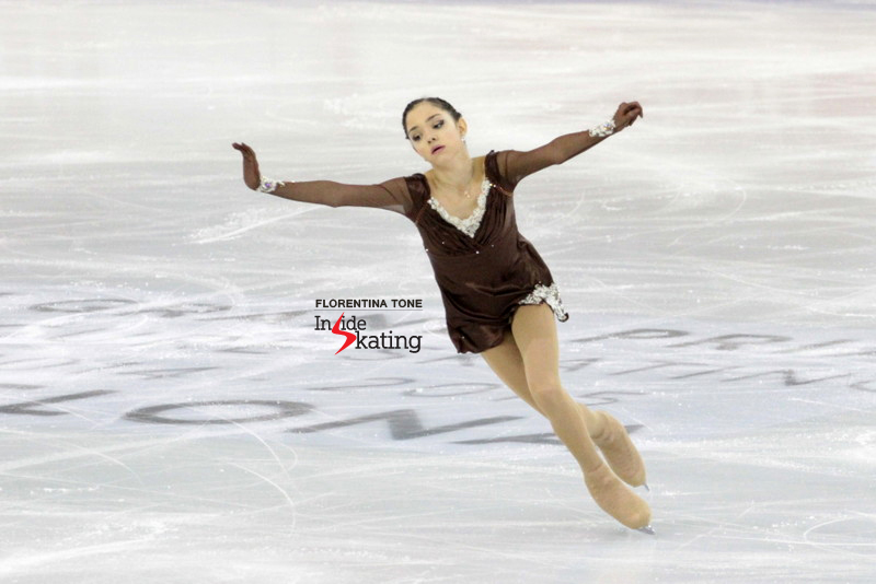 "Evgenia Medvedeva, during her free skate at JGPF, to ""A Midsummer Night's Dream"" and ""Tango Tschak"""