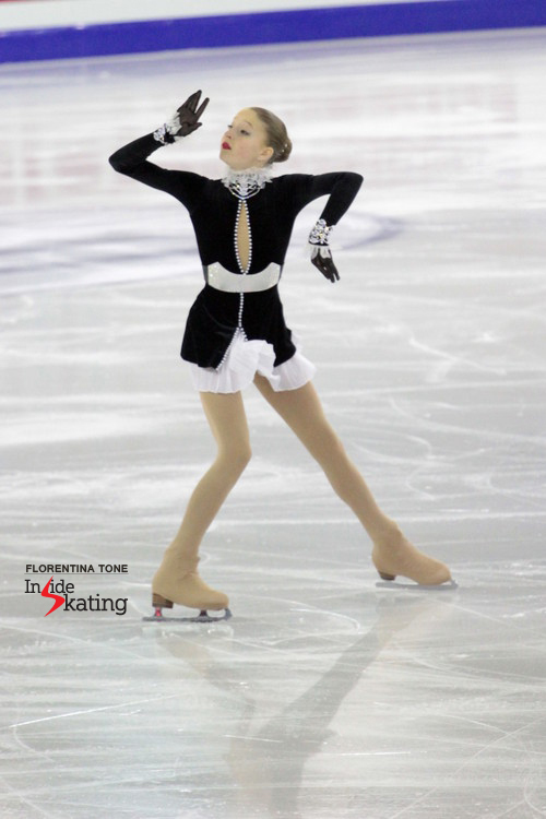 Russia's Maria Sotskova, skating to Vivaldi's Winter; and a great costume to match the music