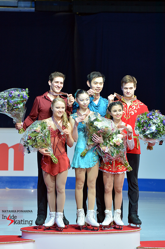 Ladies and gentlemen, these are your medalists in the pairs event at 2015 Junior Worlds:  Julianne Seguin and Charlie Bilodeau (silver), Xiaoyu Yu and Yang Jin (gold), Lina Fedorova and Maxim Miroshkin (bronze)
