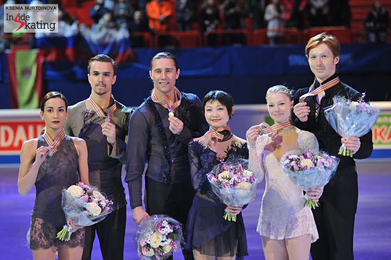 The podium in the pairs event at this year's edition of the Europeans: Robin's students, Evgenia and Vladimir (right), took the bronze