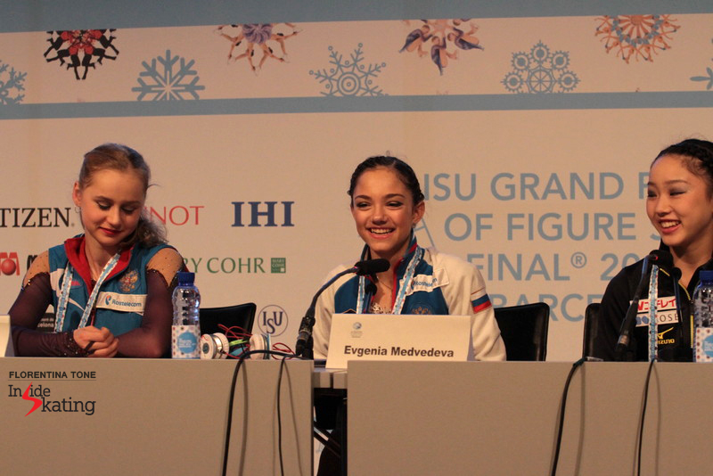 The medalists, sharing a laugh during the press conference