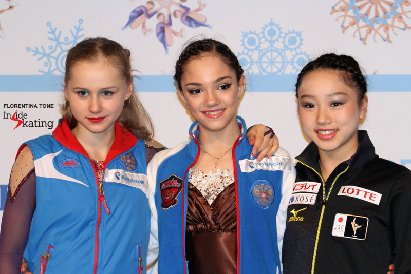 The winners of the ladies' event at 2014-2015 JGPF: Serafima (silver), Evgenia (gold), Wakaba (bronze)