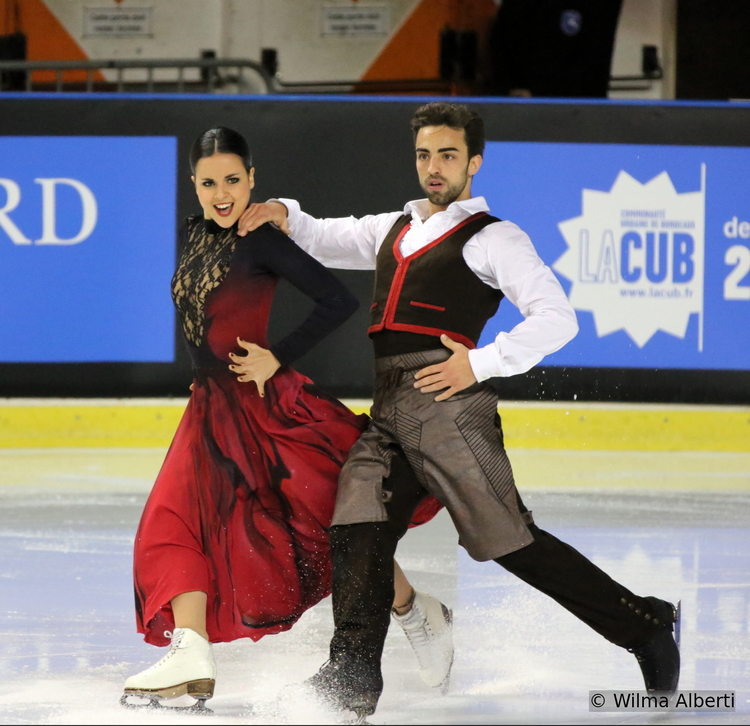 Sara Hurtado and Adria Diaz, skating their amazing short dance in Bordeaux, at 2014 Trophee Eric Bompard (November)