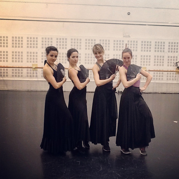 Young ladies learning flamenco steps and technique at Ballet Nacional de España, in Madrid, last May: Sara Hurtado, Celia Robledo, Gabriella Papadakis, Elisabeth Paradis (photo courtesy of Sara Hurtado)