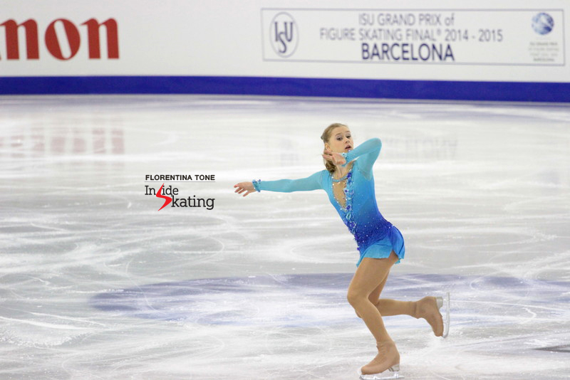 "Russia's Serafima Sakhanovich skating her short program to ""My Sweet and Tender Beast"", in Barcelona, at the Junior Grand Prix Final"