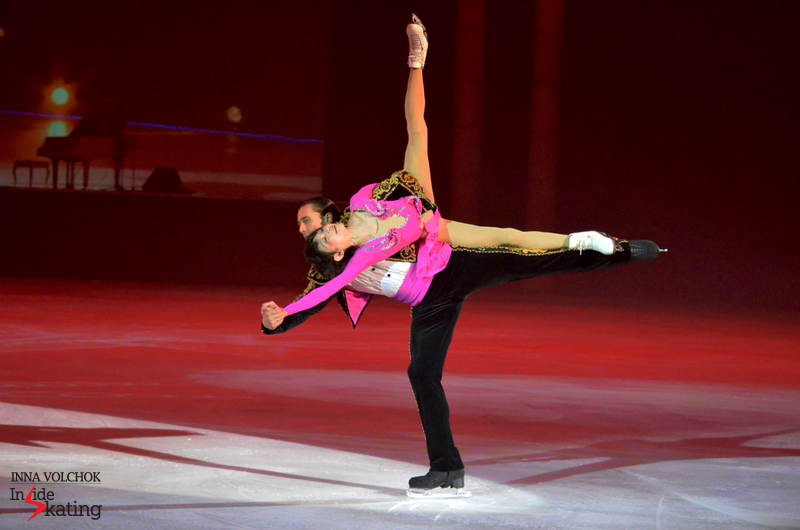 "Yuko Kavaguti, Alexander Smirnov and one of their trademark lifts in St. Petersburg, during ""Ice Stories"""