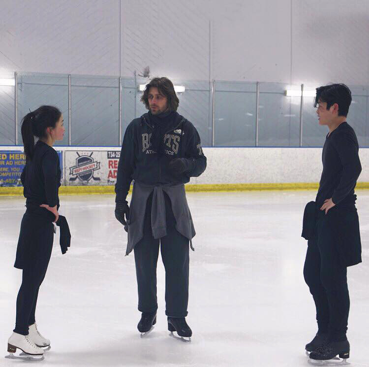 Maia, Alex and Peter Tchernyshev on May 6th; this photo accompanied the announcement of their work together for the free dance (source: Maia and Alex Shibutani's facebook account)