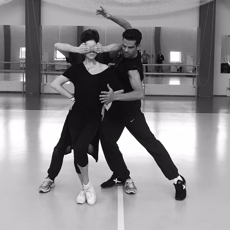 A photo that is worth a thousand words: Elena Ilinykh, Ruslan Zhiganshin and Antonio Najarro in Moscow, refining every choreographic detail of the new free dance. (source of the photo: Antonio Najarro's facebook page)
