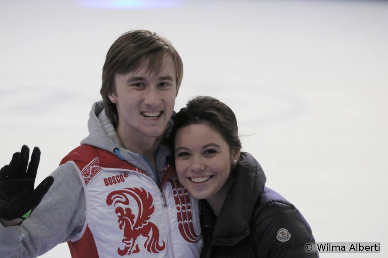 Smiling at the camera: Elena Ilinykh and Ruslan Zhiganshin