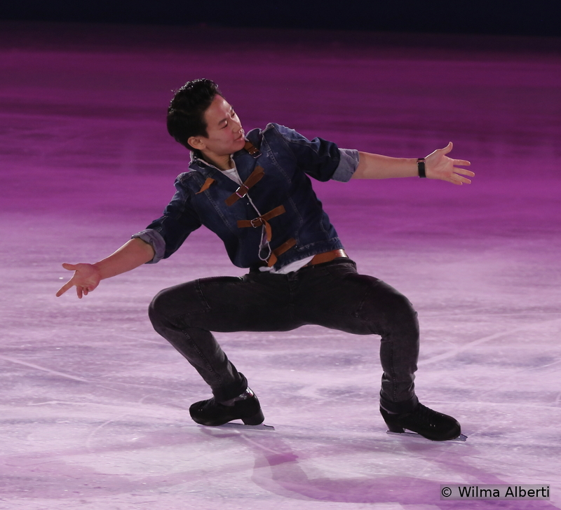 """Here comes one of the highlights of the night: Denis Ten, bronze medal in Shanghai, skating to Sam Smith's """"Money on My Mind""""; we absolutely loved that particular routine"""