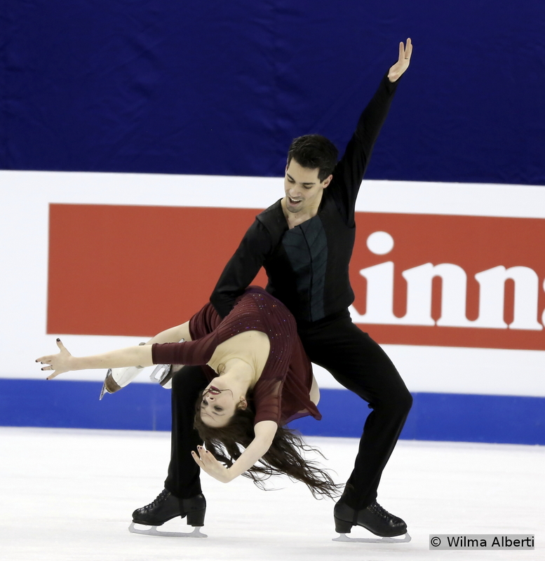 """A powerful, dramatic free dance, to """"Danse Macabre"""" by Camille Saint-Saens: Anna Cappellini and Luca Lanotte during a practice session in Shanghai"""
