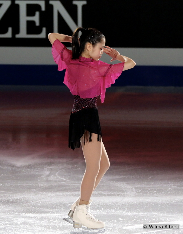 """The petite, yet so talented Satoko Miyahara, silver medalist in Shanghai, at the first Worlds of her career; in the Gala, she skated to """"Let Her Go"""" by Jasmine Thompson and """"Sing, Sing, Sing (with a Swing)"""" performed by Electro Swing Invasion"""
