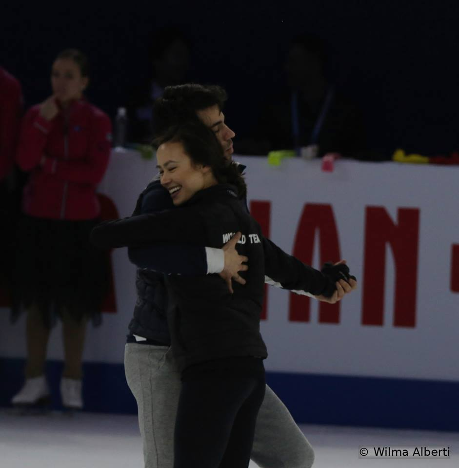Well, Evan Bates is not here yet – so why don't I ask this beautiful lady to dance? Madison Chock and Luca Lanotte in Shanghai Oriental Sports Center