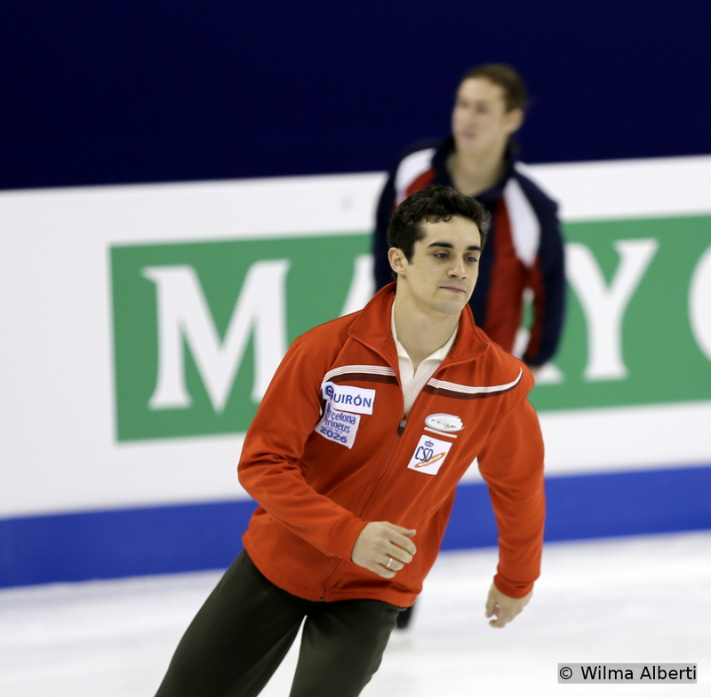 Here he is, during a practice session: the man who'd just made history for Spain, winning three consecutive gold medals at the Europeans; of course, a couple of days later, in Shanghai, Javier Fernandez will give Spain (and Europe) more reasons to celebrate, winning the gold at 2015 Worlds; by being awarded the World title, Javier Fernandez became the first skater from Spain to win a World Championship.