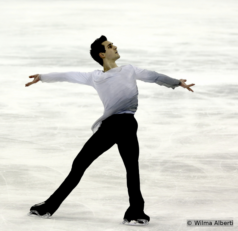 """Giving himself up to the music – Joshua Farris during his simple, yet powerful free skate to music from the movie """"Schindler's List"""""""