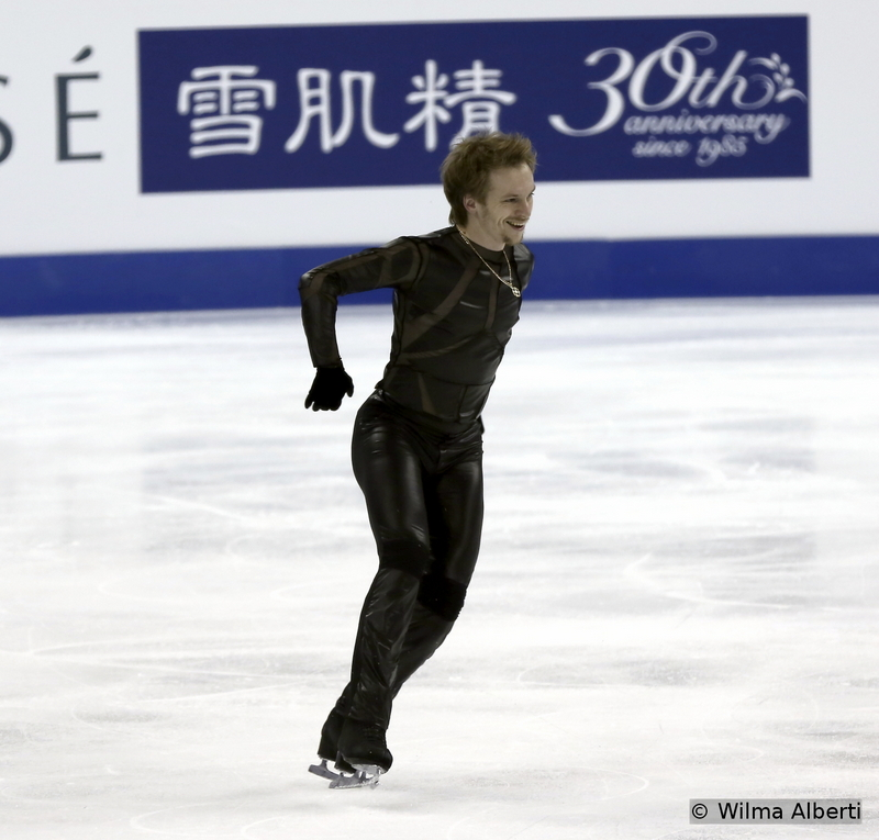 """When Alexander Zhulin first presented him the idea of skating to this particular blend of music – """"Caruso"""" by Neal Schon, """"Come Together"""" by Marcus Milles, """"At Last"""" by Kenny G, """"Big Time Boppin'"""" by Big Bad Voodoo Daddy – Sergei Voronov might have raised his eyebrow; he had mostly skated to classic music and found it hard to change it so drastically. Well, by the end of the season, this new music became Sergei's second skin – and he definitely seemed to have enjoyed skating to it. Need more proof? Just look at the photo above."""