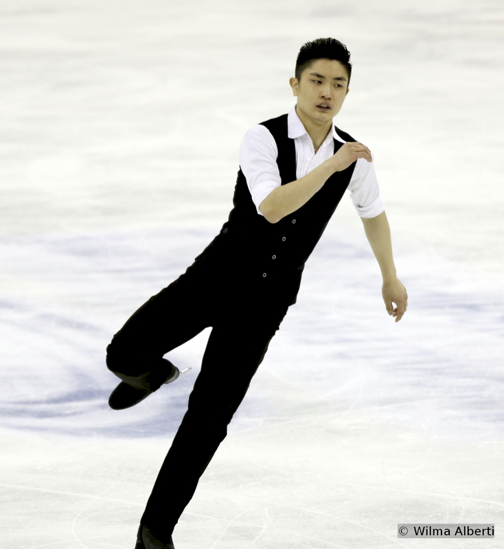 """From where we stand, Han Yan is China's ace up in the sleeve: the 19-year-old has loads of talent and a very interesting feel for the music; still, you never know at the beginning of a program if he's going to make it or break it. His lack of maturity makes him vulnerable from time to time – we can only hope he'll find the right formula to control his emotions. One thing is sure though: Han Yan does have enormous potential. Hats off to him and choreographer Lori Nichol for last season's programs, totally different from the rest: Han skated to """"If I were a rich man"""" (SP) and """"Fly me to the moon"""" (FS – photo above)."""