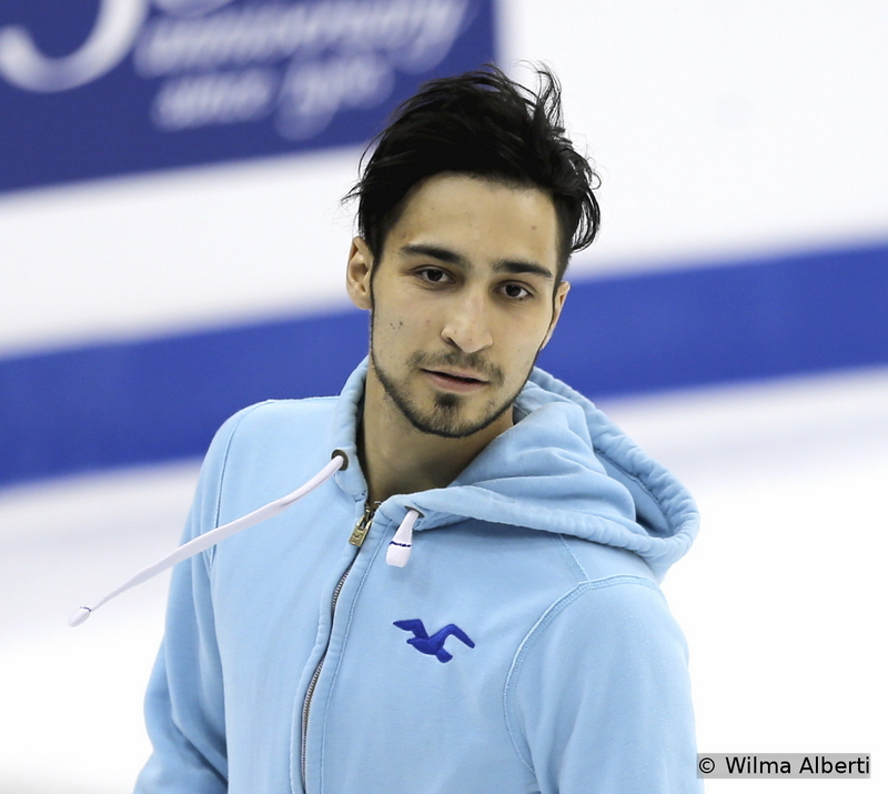 This particular skater, Italy's Ivan Righini, sure knows how to entertain a crowd; he's all quiet here, during the practice session, but he's definitely on fire during competition. Have you seen his Michael Jackson routine?