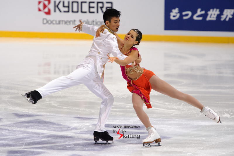 Canada's Brianna Delmaestro and Timothy Lum performing their Indian-themed free dance at Fin Trophy; they finished the event on the 7th place.
