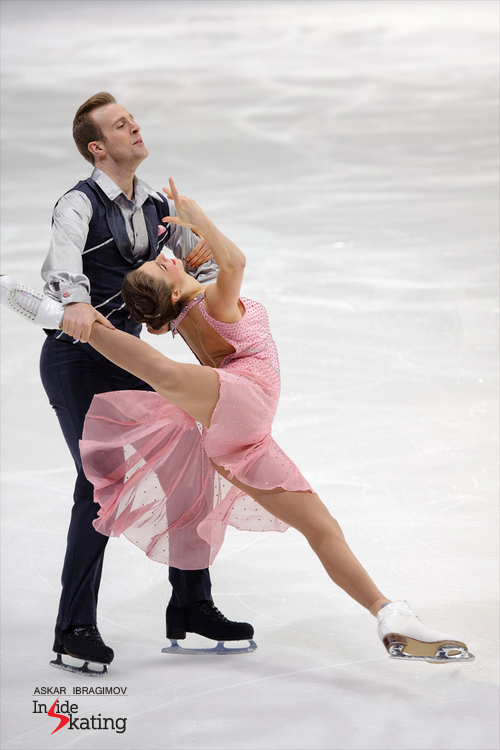 Representing Great Britain, Carter Marie Jones and Richard Sharpe were 10th at Fin Trophy; the photo shows them skating their waltz/polka short dance.
