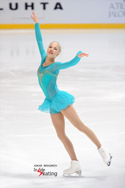 "Like a butterfly: Finland's Juulia Turkkila placed 12th in Espoo; here she is, skating her short program to ""Gabriel's Oboe"" by Ennio Morricone and Hayley Westenra"