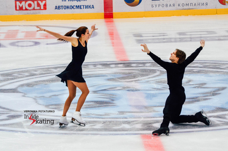 Ksenia, Kirill - and some of their costume options for the free dance. In Minsk, they used the black ones in competition and the ones featuring portraits were tested during practice