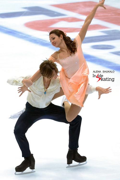 Ksenia Monko and Kirill Khaliavin skating their short dance