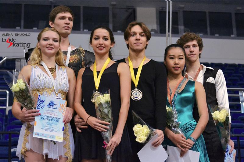 The medalist of the ice dancing event in Minsk: Viktoria Kovaliova and Yurii Bieliaiev (BLR, silver), Ksenia Monko and Kirill Khaliavin (RUS, gold), Rebeka Kim and Kirill Minov (KOR, bronze)