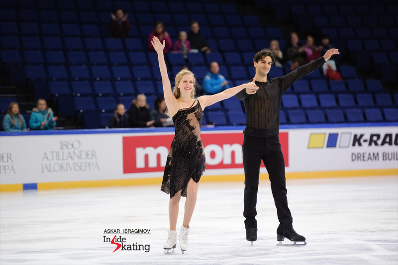 It's the first gold of the season for Kaitlyn Weaver and Andrew Poje - and the medals go well with their joyous, smiling faces