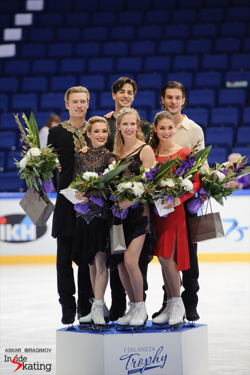 All smiles - the medalists in the ice dancing event at this year's edition of Finlandia Trophy