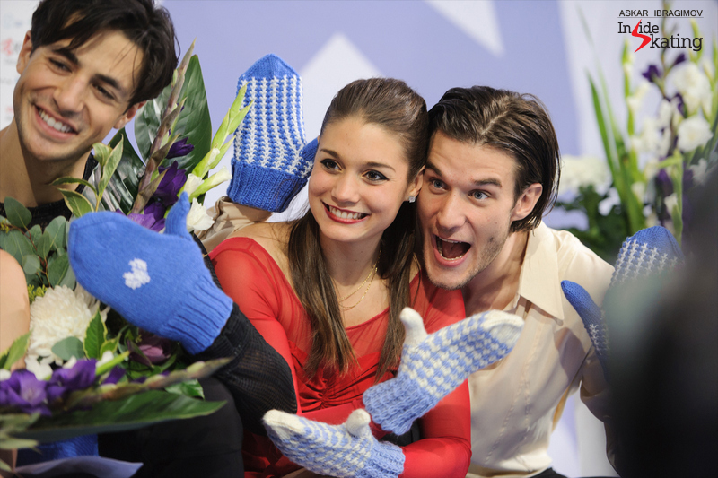 Happy faces - and blue-white mittens: Laurence Fournier Beaudry and Nikolaj Sørensen