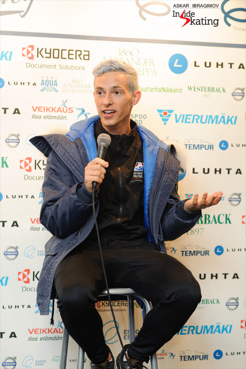 Adam, during the press conference after the Short Program