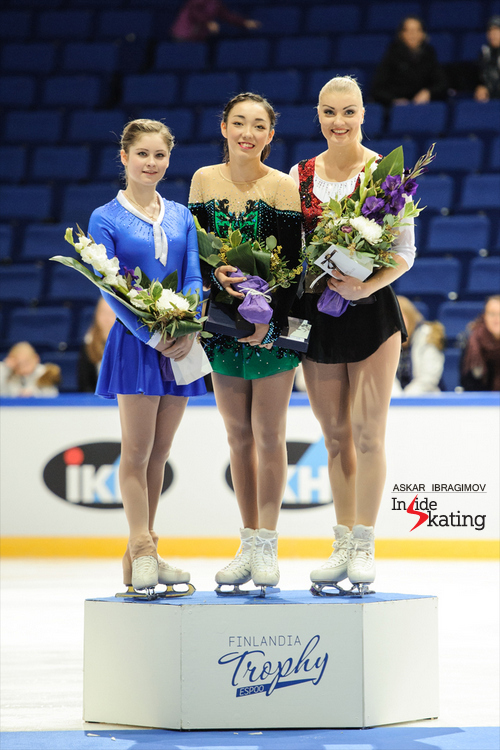 The podium in the ladies event at 2015 Finlandia Trophy: Julia Lipnitskaia (silver), Rika Hongo (gold), Joshi Helgesson (bronze)