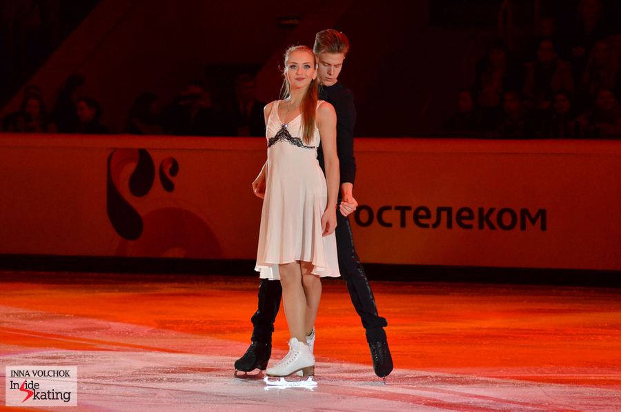 Victoria Sinitsina and Nikita Katsalapov, during the gala of 2014 Rostelecom Cup in Moscow - their first season together as a team