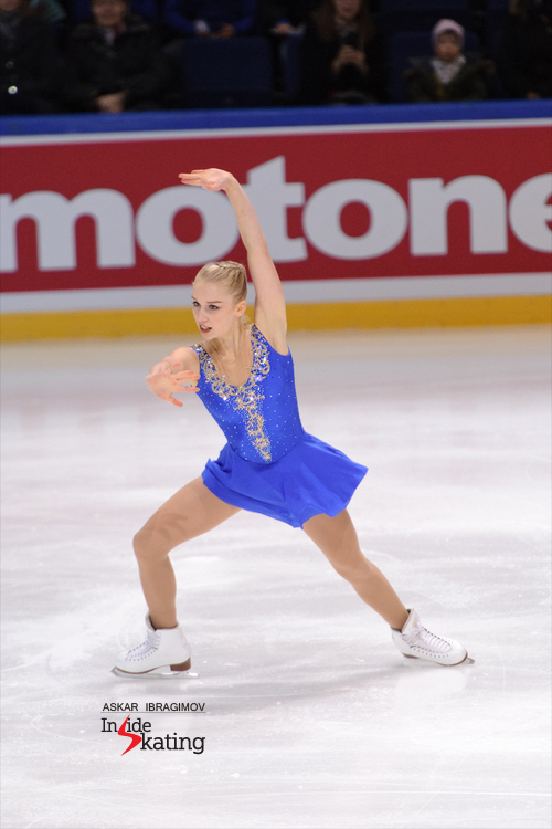 "17-year old Viveca Lindfors placed 5th at this year's edition of Finlandia Trophy – and this is quite a performance for a girl who competed in her first (senior) international event; not to mention she has a name prone to success: Viveca Lindfors was a Swedish born actress whose career in the U.S. and Sweden spanned more than a half century. In the photos below, the skater Viveca Lindfors performs her short program, to ""Persian Dance"" and ""The Snow Queen""."
