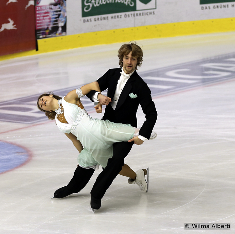 Competing in a home ground event, Austria's Barbora Silna and Juri Kurakin finished the Short Dance segment on the third place