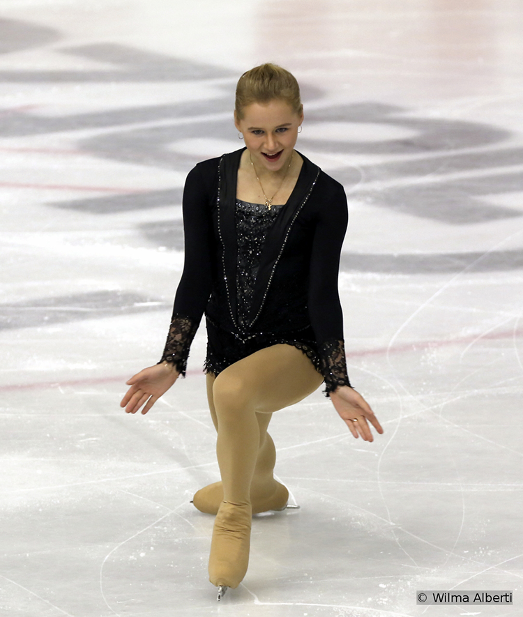 "Skating to ""16 Tons"" by LeAnn Rimes and ""Can't Touch It"" by Ricki-Lee Coulter, Russia's Serafima Sakhanovich was fifth after the Short Program; she finished the event in Graz on the 4th place"