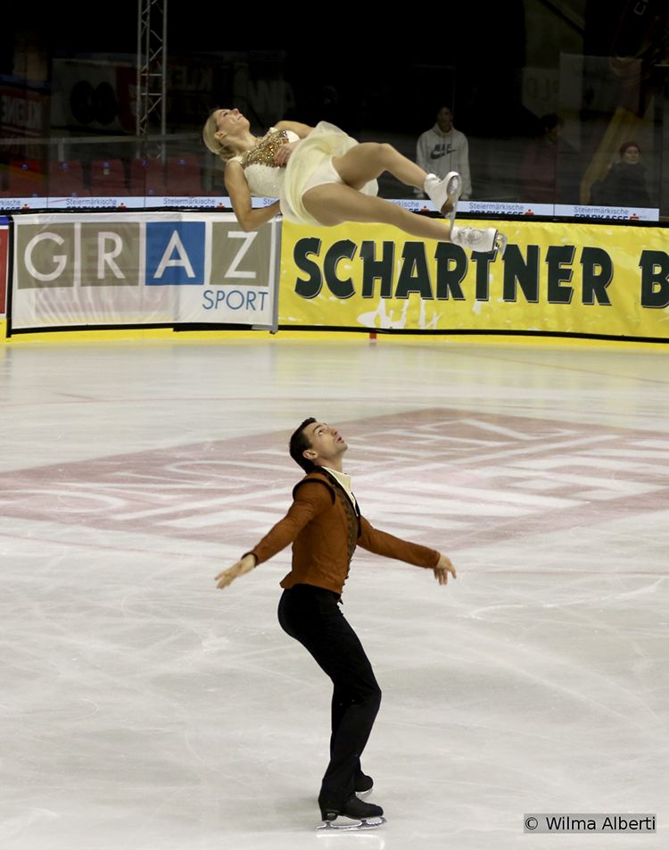 "Alexa Scimeca and Chris Knierim won both segments of the pairs event in Graz; here they are, performing their free skate to music from the movie ""Elizabeth: The Golden Age"""