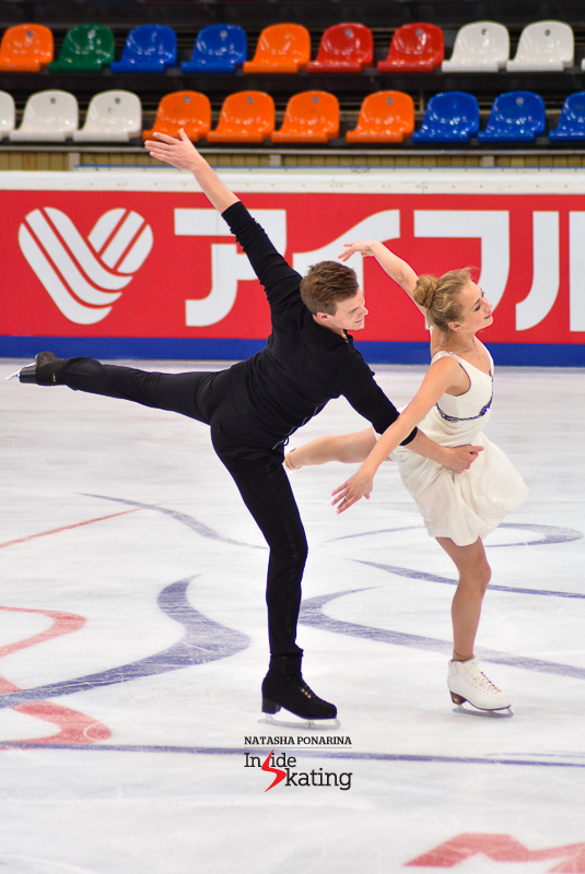 Beautiful, serene: Victoria Sinitsina and Nikita Katsalapov during practice, at 2015 Rostelecom Cup