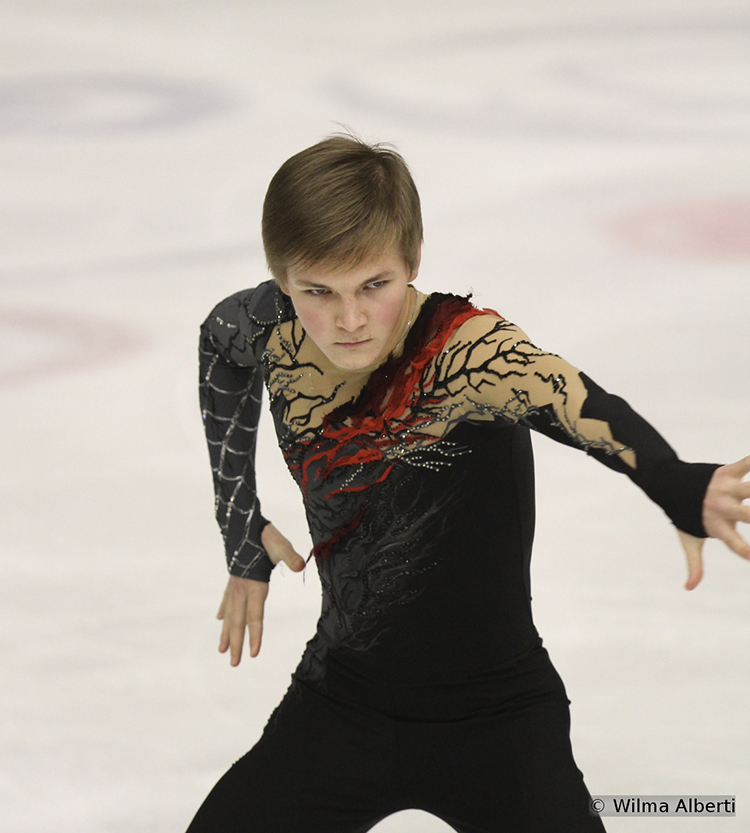 "Russian Mikhail Kolyada won the free skate in Graz – but, as he had to make up for a considerable difference after the SP, he placed third overall; he skated to music from the movie ""The Nightmare Before Christmas"""