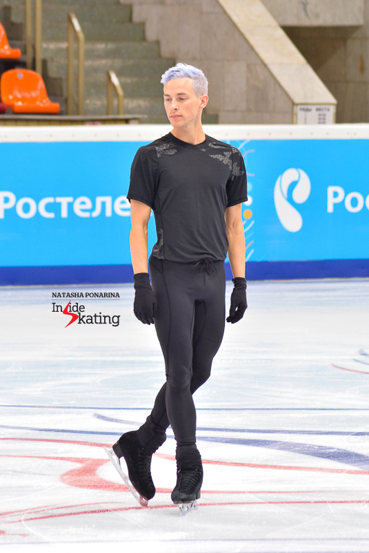 A calm, confident Adam Rippon during practice at 2015 Rostelecom Cup