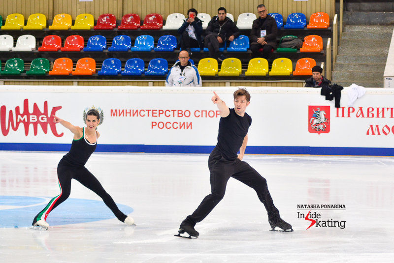 Valentina Marchei and Ondrej Hotarek during practice in Moscow; confidence seems to be one of their fortes